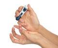 Diabetes diabetic concept finger prick for glucose sugar measuri Royalty Free Stock Photo