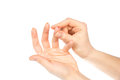Diabetes hand finger to make punctures to obtain small blo Royalty Free Stock Photo