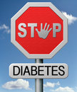 Diabetes prevention by diet find causes and screen for symptoms of type or dieting or treat with medication Stock Image