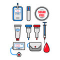 Diabetes. Set of flat colored icons. Glucometer and insulin. Vector