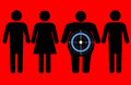 Diabetes targeting overweight people line of male and female symbols person has a target and a symbol on him Royalty Free Stock Photos