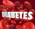 Diabetes Word Blood Cells Disorder Disease Stock Photos