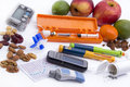 Diabetic items all you need to control diabetes insulin pump for continuous feed blood sugar Stock Photography