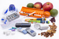 Diabetic items all you need to control diabetes nall n insulin pump for continuous feedn blood sugar Royalty Free Stock Photography
