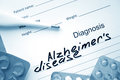 Diagnosis alzheimers disease and tablets medicine concept Royalty Free Stock Photo