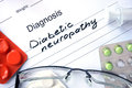 Diagnosis Diabetic neuropathy and tablets. Royalty Free Stock Photo