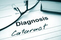 Diagnosis list with cataract and glasses eye disorder concept Royalty Free Stock Images