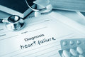Diagnostic form with diagnosis heart failure and pills Stock Images