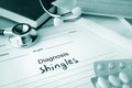 Diagnostic form with diagnosis shingles and pills Stock Photography