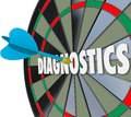 Diagnostics Word Dart Board Find Solution Problem Aim Target Stock Image