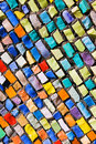 Diagonal colorful mosaic texture on wall Royalty Free Stock Photo