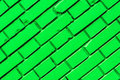 Diagonal green brick wall texture Royalty Free Stock Photo