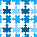 Diagonal jigsaw puzzle seamless pattern blue pieces geometric tile colors can be changed upon request Royalty Free Stock Photography