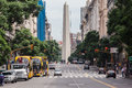 Diagonal norte avenue leading towards obelisk downtown buenos aires argentina Stock Photos