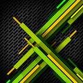 Diagonal overlapped stripes metal grid yellow orange and green on dark metallic with shadows Royalty Free Stock Photo
