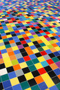Diagonal perspective of colorful mosaic tiles Royalty Free Stock Photos