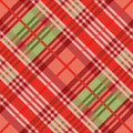 Diagonal seamless pattern mainly in red hues position of rectangular vector as a tartan Royalty Free Stock Image