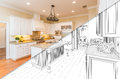 Diagonal Split Screen Of Drawing and Photo of New Kitchen Royalty Free Stock Photo