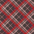 Diagonal tartan seamless texture mainly in muted colors position of rectangular vector pattern as a plaid red and other Royalty Free Stock Image