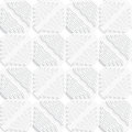 Diagonal white wavy lines and squares layered pattern abstract d seamless background with cut out of paper effect Royalty Free Stock Photo