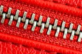 Diagonal zipper tightly closed binding together two layers of red fabric textile and red leather under high magnification detail Royalty Free Stock Photo