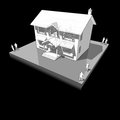 Diagram of a classic colonial house another from the collection all have the same point view angle perspective Royalty Free Stock Images