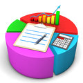 Diagram clipboard calculator colorful with chart and ballpen Royalty Free Stock Photography