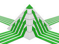 Diagramme de pyramide vert-blanc Photos stock