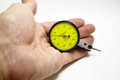 Dial gauge new for check dimension in the box package in isolate background Stock Photo