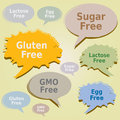 Dialog Boxes Tags Food Allergens - Gluten Sugar Lactose Egg GMO free Labels