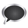 dialog callout box with grill perforated frame icon relief Royalty Free Stock Photo