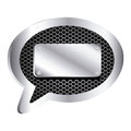 dialog callout with metallic frame grill perforated and plaque icon relief Royalty Free Stock Photo