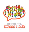 Dialog cloud illustration of made up of isometric pixel art style people Royalty Free Stock Images