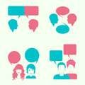 Dialog head silhouette vector bubble couple Stock Photos