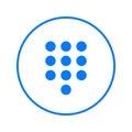 Dialpad, numeric keypad circular line icon. Round colorful sign. Flat style vector symbol.