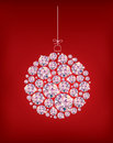 Diamond Christmas ball on red background Royalty Free Stock Images