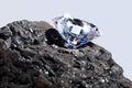 Diamond and Coal plain background. Royalty Free Stock Photo