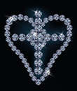 Diamond cross and heart Royalty Free Stock Images