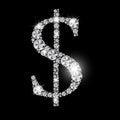 Diamond dollar sign vector nero di lusso astratto Immagine Stock