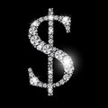 Diamond dollar sign vetora preto luxuoso abstrato Imagem de Stock