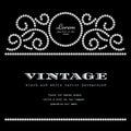 Diamond frame pattern on black background vintage dotted Stock Photos