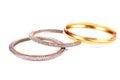 Diamond and gold bangles Royalty Free Stock Photo