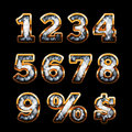 Diamond and gold digits set Royalty Free Stock Image