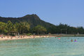 Diamond head in background in hawaii with beach Stock Photo