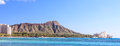Diamond head photo of waikiki beach with crater in the background in honolulu on the island of oahu hawaii u s a Royalty Free Stock Image