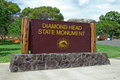 Diamond Head State Monument Park Sign close Honolulu on Oahu Haw Royalty Free Stock Photo