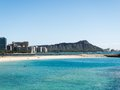 Diamond head from waikiki with blue water in the foreground Royalty Free Stock Photo