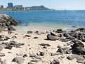 Diamond head from waikiki with lava rocks and sand in the foreground Royalty Free Stock Photography