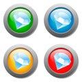 Diamond icon glass button set Royalty Free Stock Photo