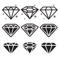 Diamond icons set Royalty-vrije Stock Afbeelding